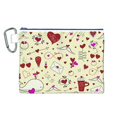Valentinstag Love Hearts Pattern Red Yellow Canvas Cosmetic Bag (l) by EDDArt