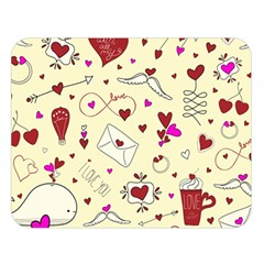 Valentinstag Love Hearts Pattern Red Yellow Double Sided Flano Blanket (large)  by EDDArt