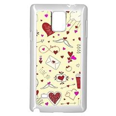 Valentinstag Love Hearts Pattern Red Yellow Samsung Galaxy Note 4 Case (white) by EDDArt