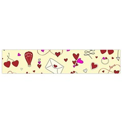 Valentinstag Love Hearts Pattern Red Yellow Flano Scarf (small) by EDDArt