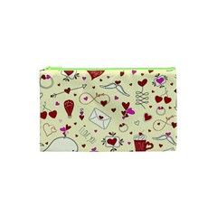 Valentinstag Love Hearts Pattern Red Yellow Cosmetic Bag (xs) by EDDArt