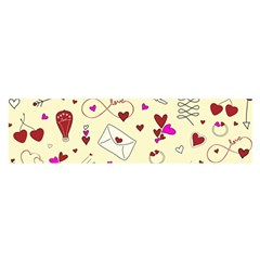 Valentinstag Love Hearts Pattern Red Yellow Satin Scarf (oblong) by EDDArt