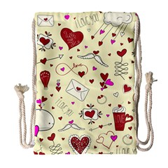 Valentinstag Love Hearts Pattern Red Yellow Drawstring Bag (large) by EDDArt