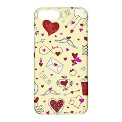 Valentinstag Love Hearts Pattern Red Yellow Apple Iphone 7 Plus Hardshell Case by EDDArt