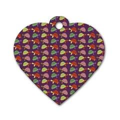 Turtle Pattern Dog Tag Heart (one Side) by Valentinaart