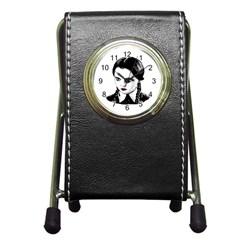 Wednesday Addams Pen Holder Desk Clocks by Valentinaart
