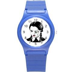 Wednesday Addams Round Plastic Sport Watch (s) by Valentinaart