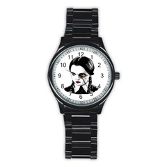 Wednesday Addams Stainless Steel Round Watch by Valentinaart
