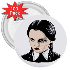 Wednesday Addams 3  Buttons (100 Pack)  by Valentinaart