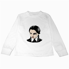 Wednesday Addams Kids Long Sleeve T Shirts by Valentinaart
