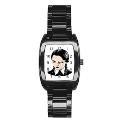 Wednesday Addams Stainless Steel Barrel Watch by Valentinaart
