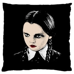 Wednesday Addams Large Cushion Case (one Side) by Valentinaart