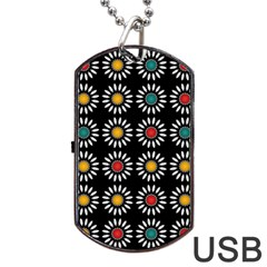 White Daisies Pattern Dog Tag Usb Flash (one Side) by linceazul