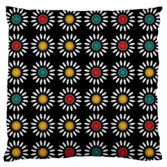 White Daisies Pattern Large Flano Cushion Case (one Side) by linceazul