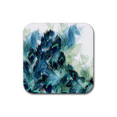 Flowers And Feathers Background Design Rubber Coaster (square)  by TastefulDesigns