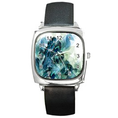 Flowers And Feathers Background Design Square Metal Watch by TastefulDesigns