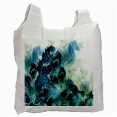 Flowers And Feathers Background Design Recycle Bag (two Side)  by TastefulDesigns