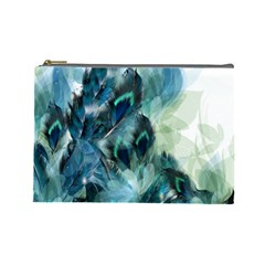Flowers And Feathers Background Design Cosmetic Bag (large)  by TastefulDesigns