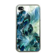 Flowers And Feathers Background Design Apple Iphone 4 Case (clear) by TastefulDesigns