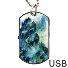 Flowers And Feathers Background Design Dog Tag Usb Flash (two Sides) by TastefulDesigns