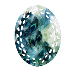 Flowers And Feathers Background Design Oval Filigree Ornament (two Sides) by TastefulDesigns