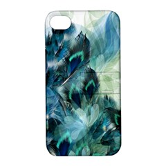 Flowers And Feathers Background Design Apple Iphone 4/4s Hardshell Case With Stand by TastefulDesigns