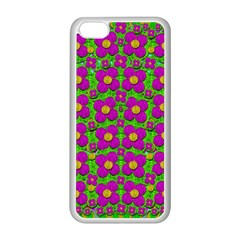 Bohemian Big Flower Of The Power In Rainbows Apple Iphone 5c Seamless Case (white) by pepitasart