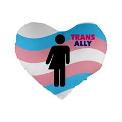 Transgender  Standard 16  Premium Flano Heart Shape Cushions by Valentinaart
