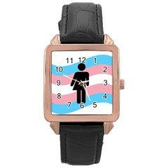Transgender  Rose Gold Leather Watch  by Valentinaart