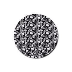 Skulls Pattern  Rubber Coaster (round)  by Valentinaart
