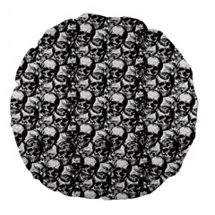 Skulls Pattern  Large 18  Premium Flano Round Cushions by Valentinaart