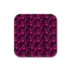 Skulls Pattern  Rubber Square Coaster (4 Pack)  by Valentinaart