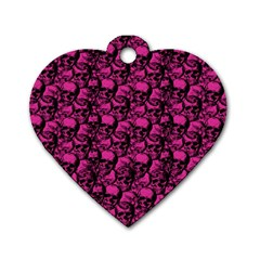 Skulls Pattern  Dog Tag Heart (one Side) by Valentinaart