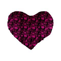 Skulls Pattern  Standard 16  Premium Heart Shape Cushions by Valentinaart