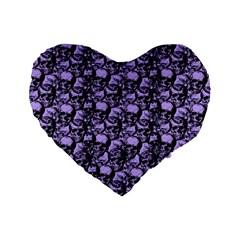 Skulls Pattern  Standard 16  Premium Flano Heart Shape Cushions by Valentinaart