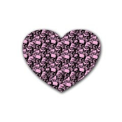 Skulls Pattern  Rubber Coaster (heart)  by Valentinaart