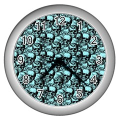 Skulls Pattern  Wall Clocks (silver)  by Valentinaart