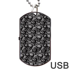 Skulls Pattern  Dog Tag Usb Flash (one Side) by Valentinaart