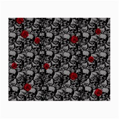 Skulls And Roses Pattern  Small Glasses Cloth by Valentinaart