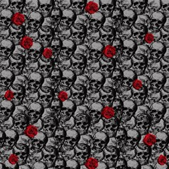 Skulls And Roses Pattern  Magic Photo Cubes by Valentinaart