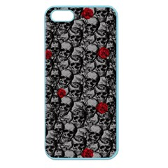 Skulls And Roses Pattern  Apple Seamless Iphone 5 Case (color) by Valentinaart