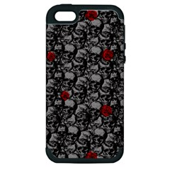 Skulls And Roses Pattern  Apple Iphone 5 Hardshell Case (pc+silicone) by Valentinaart