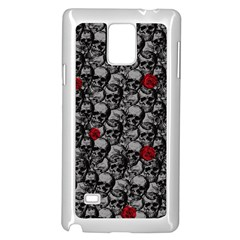 Skulls And Roses Pattern  Samsung Galaxy Note 4 Case (white) by Valentinaart