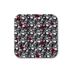 Skulls And Roses Pattern  Rubber Square Coaster (4 Pack)  by Valentinaart