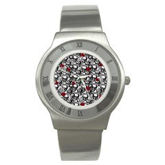 Skulls And Roses Pattern  Stainless Steel Watch by Valentinaart