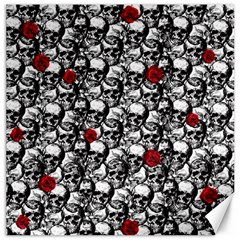 Skulls And Roses Pattern  Canvas 16  X 16   by Valentinaart
