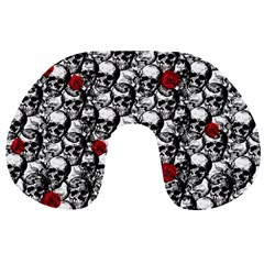 Skulls And Roses Pattern  Travel Neck Pillows by Valentinaart