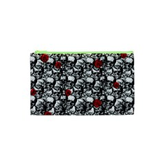 Skulls And Roses Pattern  Cosmetic Bag (xs) by Valentinaart