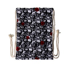 Skulls And Roses Pattern  Drawstring Bag (small) by Valentinaart