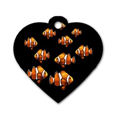 Clown Fish Dog Tag Heart (two Sides) by Valentinaart